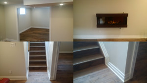Image / Broadview Project / Basement Renovation / Staircase / Barn Door Entrance / Fireplace